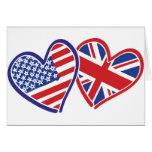 Los E.E.U.U. y Reino Unido en los corazones que mu Tarjetas