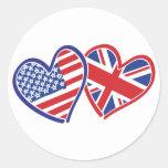 Los E.E.U.U. y Reino Unido en los corazones que Pegatinas Redondas