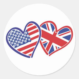 Los E.E.U.U. y Reino Unido en los corazones que Pegatina Redonda