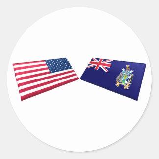 Los E.E.U.U. y tejas del sur de la bandera de Pegatina Redonda