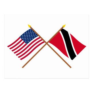 Los E.E.U.U. y Trinidad y banderas cruzadas Postales