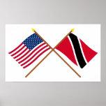 Los E.E.U.U. y Trinidad y banderas cruzadas Trinid Posters