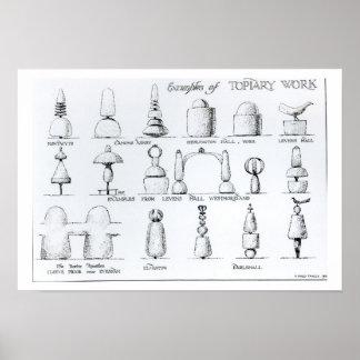 Los ejemplos del Topiary trabajan, 1902 (el grabad Posters