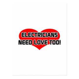 Los electricistas necesitan amor también tarjetas postales