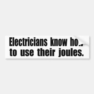 Los electricistas saben utilizar sus julios pegatina para coche