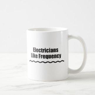 Los electricistas tienen gusto de frecuencia taza de café