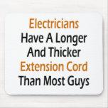 Los electricistas tienen una extensión más larga y alfombrilla de ratones