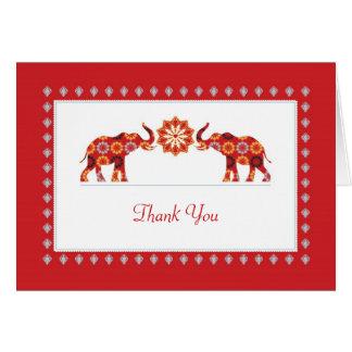 Los elefantes adornados le agradecen cardar tarjeta pequeña