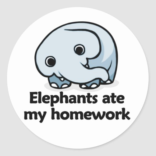 Los elefantes comieron mi preparación pegatina redonda