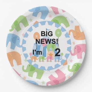 Los elefantes del circo soy 2 placas de papel del platos de papel