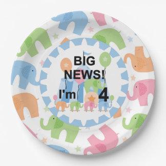 Los elefantes del circo soy 4 placas de papel del platos de papel