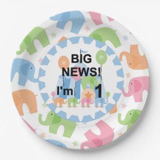 Los elefantes del circo soy placas de papel de 1 platos de papel