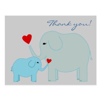 Los elefantes en azul le agradecen postal