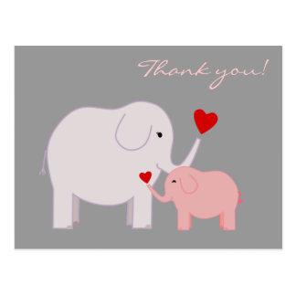 Los elefantes en rosa le agradecen postal