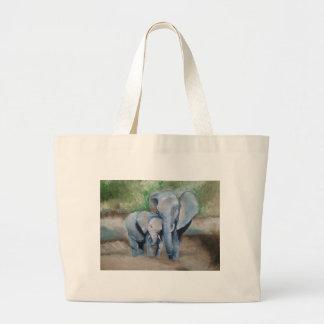 Los elefantes miman y bebé bolsa tela grande