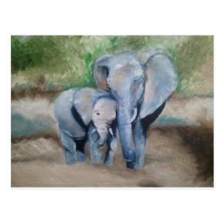 Los elefantes miman y bebé tarjetas postales
