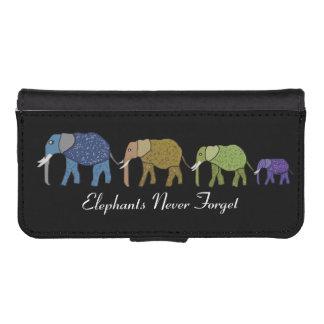 Los elefantes nunca olvidan funda tipo billetera para iPhone 5