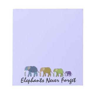Los elefantes nunca olvidan las libretas bloc
