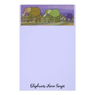 Los elefantes nunca olvidan papeleria de diseño