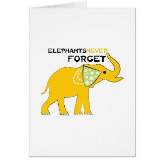 Los elefantes nunca olvidan tarjeta de felicitación