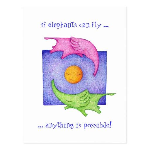 ¡Los elefantes pueden volar! Postal
