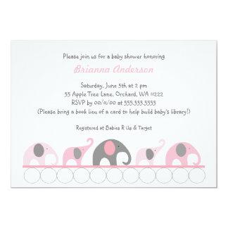 Los elefantes rosados y grises en fiesta de invitación 12,7 x 17,8 cm