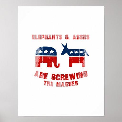 Los elefantes y los asnos están atornillando las m poster