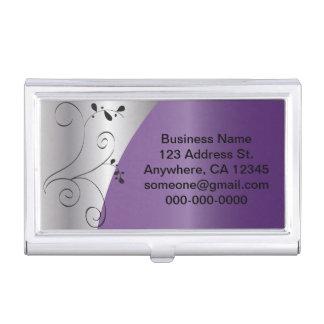 Los | elegantes púrpuras y de plata personalizan caja de tarjetas de presentación