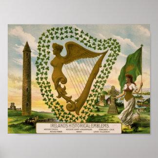 Los emblemas históricos de Irlanda Póster