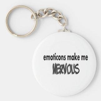 Los Emoticons hacen me nervioso, negro y gris Llavero Redondo Tipo Pin