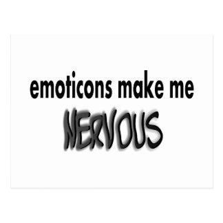 Los Emoticons hacen me nervioso, negro y gris Postales