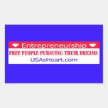 Los empresarios liberan sueños de la gente rectangular pegatina