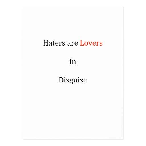 Los enemigos son amantes en disfraz postales