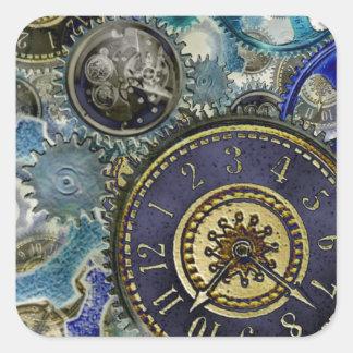 Los engranajes azules del steampunk de la aguamari pegatinas cuadradas