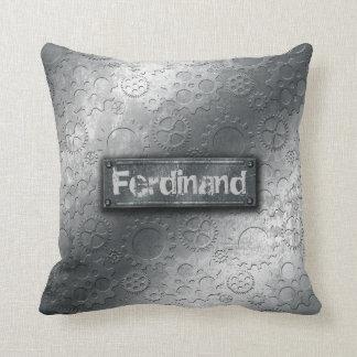 Los engranajes metálicos con la etiqueta empernada almohadas