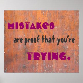Los errores son la prueba que usted está impresiones
