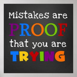 Los errores son prueba que usted está intentando e póster