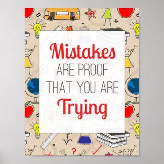 Los errores son prueba que usted está intentando - póster