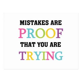Los errores son prueba que usted está intentando postales