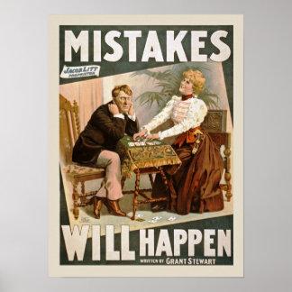 Los errores sucederán poster del vintage