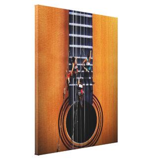 Los escaladores de la guitarra envolvieron la lona impresión en lienzo