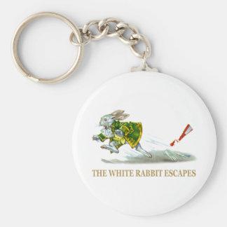 Los escapes blancos del conejo llavero redondo tipo pin