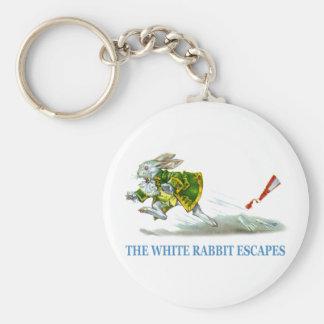 ¡Los escapes blancos del conejo! Llavero Redondo Tipo Pin