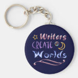 Los escritores crean los mundos llavero personalizado