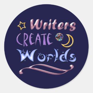 Los escritores crean los mundos pegatina redonda