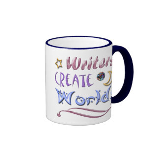 Los escritores crean los mundos taza de café