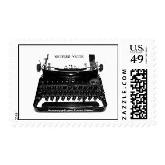 Los escritores escriben el sello de la máquina de