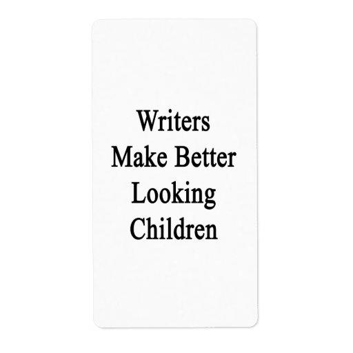 Los escritores hacen a niños más apuestos etiquetas de envío