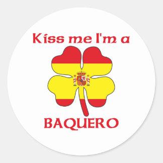 Los españoles personalizados me besan que soy pegatina redonda