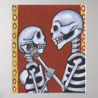 los esqueletos de dia de los muertos en amor impri póster